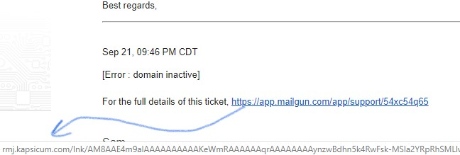 Mailgun spam email support ticket phishing